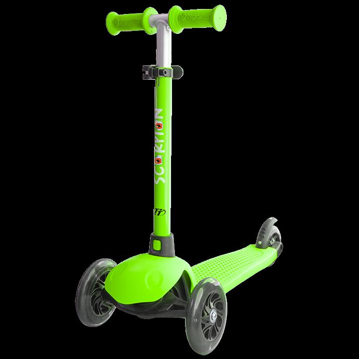 Детский трехколесный самокат-кикборд TechTeam Scorpion 2018 зеленый