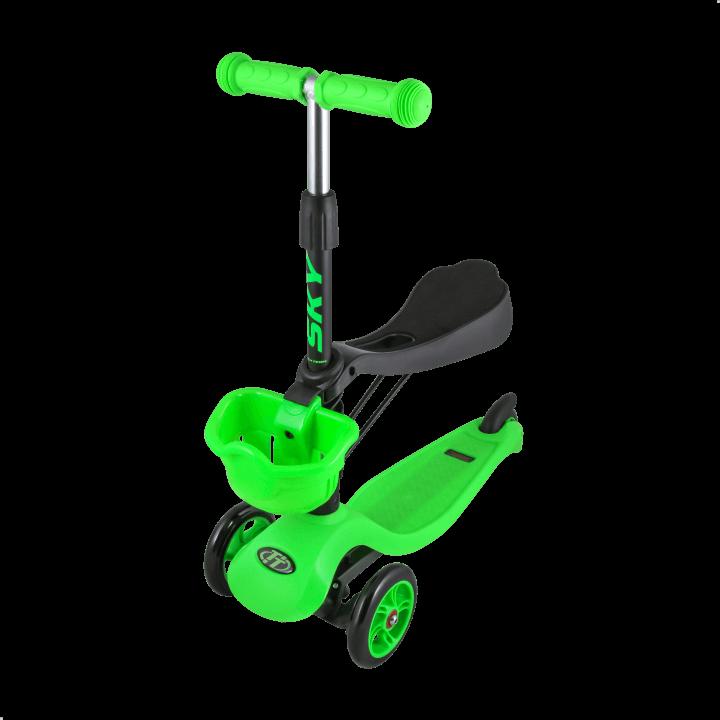 Детский трехколесный самокат-кикборд TechTeam Sky Scooter New зеленый