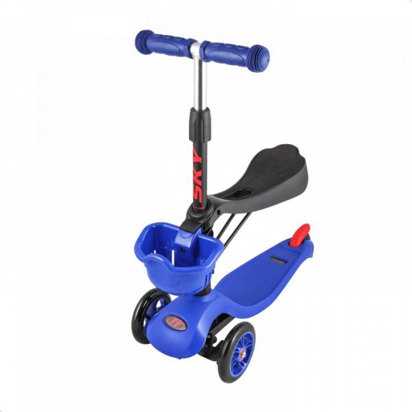 Детский трехколесный самокат-кикборд TechTeam Sky Scooter New синий
