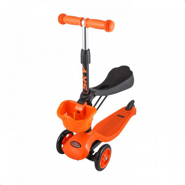 Детский трехколесный самокат-кикборд TechTeam Sky Scooter New оранжевый