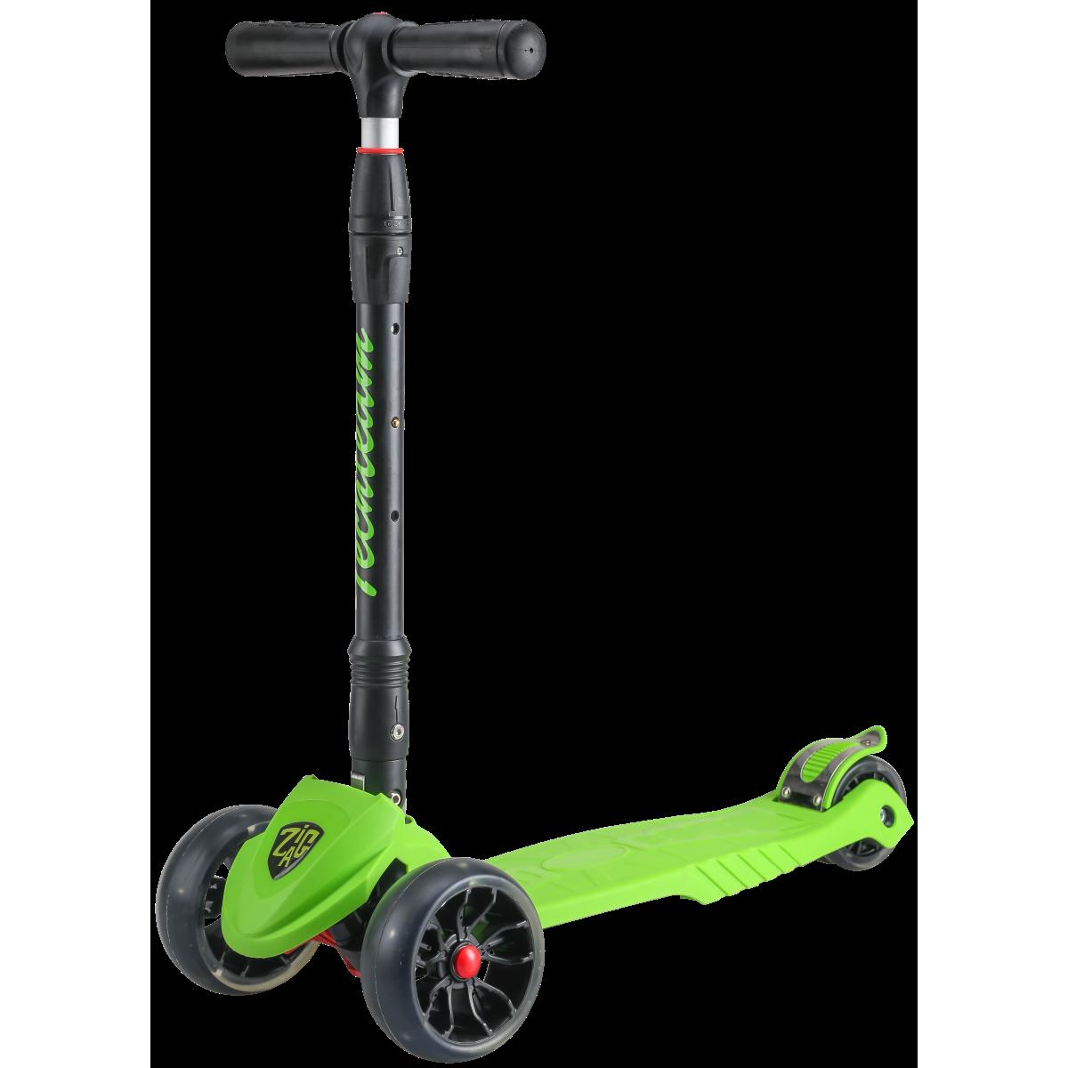 Детский трехколесный самокат-кикборд TechTeam Zig Zag 2019 зеленый