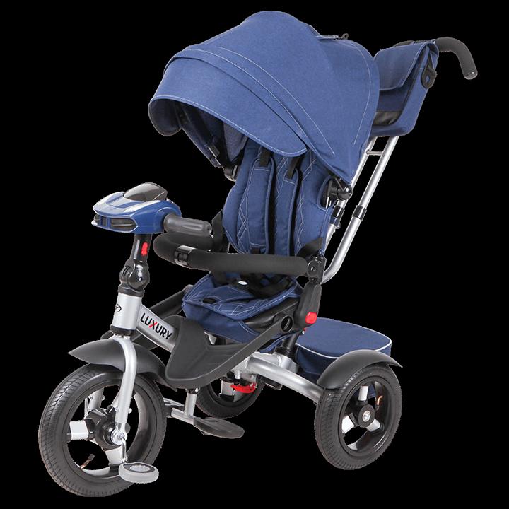Трехколесный велосипед коляска TechTeam Luxury 2018 синий
