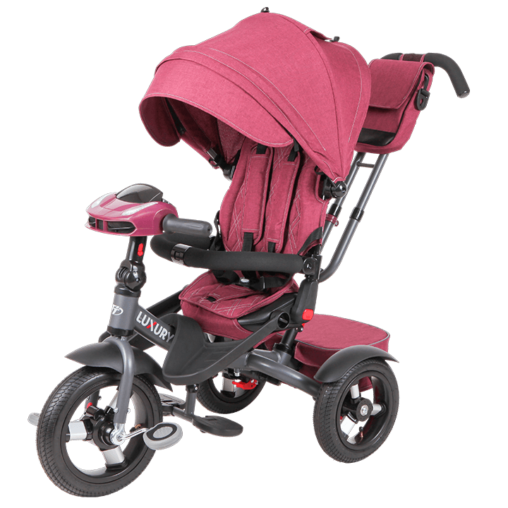 Трехколесный велосипед коляска TechTeam Luxury 2018 бордовый